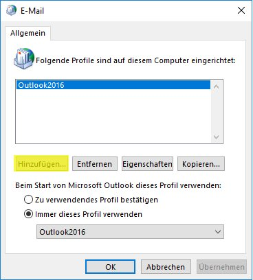 E-Mail Verwaltung Profile